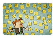Businessman with wall full of reminder notes, concept of a lot of work. Illustration of businessman with wall full of reminder notes, concept of a lot of work Royalty Free Stock Photo