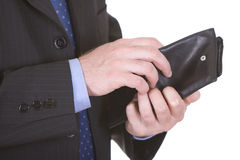 Businessman with wallet Stock Images