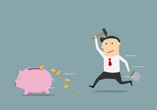 Businessman wants to break piggy bank. Cartoon businessman running after a piggy bank with hammer and trying to bring back money Stock Image