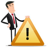 Businessman Warning Sign Royalty Free Stock Photos