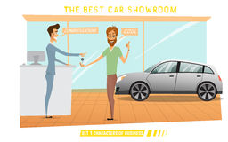 Businessman was buy expensive car in auto-salon Royalty Free Stock Photos