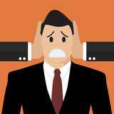 Businessman was covered ears by other man Royalty Free Stock Image