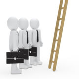 Businessman watch up a ladder Royalty Free Stock Photos