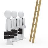 Businessman watch up a ladder. 3d businessman birefcase watch up a ladder Royalty Free Stock Photos