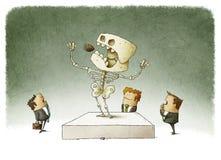 Businessman watching an extinct boss Stock Photography