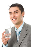 Businessman with water. Businessman with glass of water stock photography