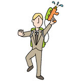 Businessman with water gun Stock Photo