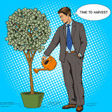 Businessman water money tree pop art style vector Stock Image