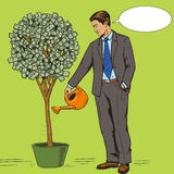 Businessman water money tree pop art style vector Royalty Free Stock Photos
