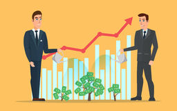 Businessman water the plants with the money graph rises. Business cartoon concept. Vector creative color illustrations flat design in flat modern style Royalty Free Stock Images