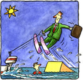 Businessman on water skis Royalty Free Stock Images
