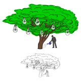 Businessman watering bulb tree vector illustration sketch doodle stock image
