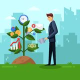 Businessman watering business tree. Planning and growing strategy business concept. Vector flat illustration. stock illustration