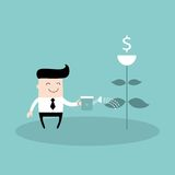 Businessman watering dollar plant Business success. Concept Vector illustration Stock Image