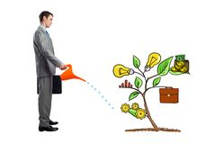Businessman watering drawing tree with can stock image