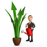 Businessman watering the green arrows. 3d businessman watering the green arrows Stock Photos