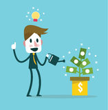 Businessman watering money plant vector. income idea and concept. Royalty Free Stock Images