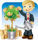 Businessman watering a money tree. Vector illustration of a businessman holding a watering can and watering a money tree on which grows gold coins. Illustration Stock Images