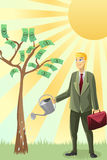 Businessman watering money tree. A  illustration of a businessman watering a money tree Royalty Free Stock Photo