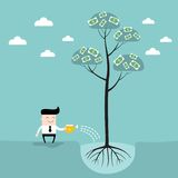 Businessman watering money tree Business success. Concept Vector illustration Royalty Free Stock Photo