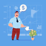 Businessman Watering Money Tree Finance Success Concept. Flat Vector Illustration Royalty Free Stock Photography