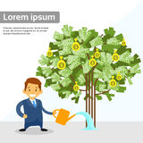 Businessman Watering Money Tree Flat Vector Stock Image