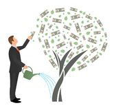 Flat vector businessman watering money tree and reaches for the dollar. Successful man business project investment income concept vector illustration