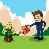 Businessman watering a money tree. Illustration Stock Photography