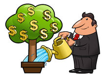 Businessman is watering the money tree Royalty Free Stock Image