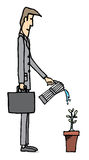 Businessman watering plant / Business growing Stock Photo