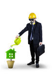 Businessman watering plant isolated Stock Photography