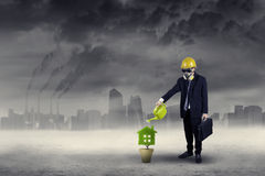 Businessman watering plant under air pollution Stock Photo