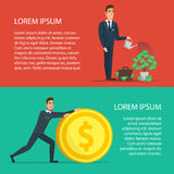 Businessman is watering a tree of money. Increase revenue Stock Image
