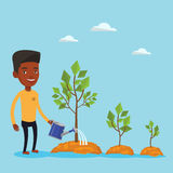 Businessman watering trees vector illustration. An african-american man watering trees of three sizes. Young businessman watering plants with watering can Royalty Free Stock Photos