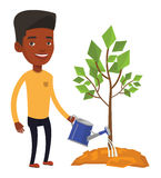 Businessman watering trees vector illustration. African-american businessman watering trees of three sizes. Young businessman watering plants. Business growth Stock Images