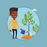 Businessman watering trees vector illustration. African businessman watering plants with watering can. Man watering trees of three sizes. Business growth and Stock Photography