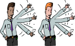 Businessman Waves His Arm. Two variations of a businessman waving his arm up and down for exercise or to get attention Stock Images