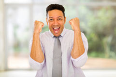 Businessman waving fists indoors Stock Photography