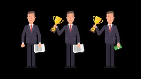 Businessman waving hand holding cup documents and money. Alpha channel. Motion graphics. Animation video stock video footage