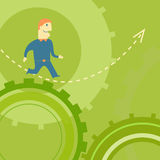 Businessman on the way. Vector concept of businessman running to success Royalty Free Stock Photo
