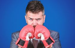 Businessman wear boxing gloves. Best criminal defense lawyer strategies. Attack and defense concept. Achieve success. Tactics proven to work. Criminal defense stock image