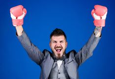 Businessman wear boxing gloves. Best criminal defense lawyer strategies. Attack and defense concept. Tactics proven to. Work. Achieve success. Criminal defense stock photo