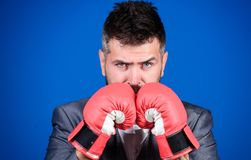 Businessman wear boxing gloves. Best criminal defense lawyer strategies. Attack and defense concept. Achieve success. Tactics proven to work. Criminal defense stock photos