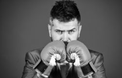 Businessman wear boxing gloves. Best criminal defense lawyer strategies. Attack and defense concept. Achieve success. Tactics proven to work. Criminal defense royalty free stock images
