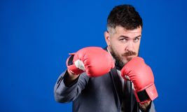 Businessman wear boxing gloves. Best criminal defense lawyer strategies. Tactics proven to work. Attack and defense. Concept. Successful businessman. Criminal stock photos