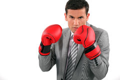 Businessman wearing boxing gloves Royalty Free Stock Photography