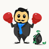 Businessman wearing boxing gloves, cartoon concept  illustration. Royalty Free Stock Images