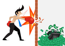 Businessman wearing boxing gloves and hitting through wall concept . Stock Photography