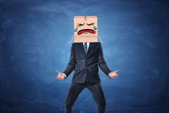 Businessman wearing cardboard box with drawn crying face on his head. Royalty Free Stock Photography