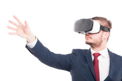 Businessman wearing 3d virtual reality glasses Royalty Free Stock Image